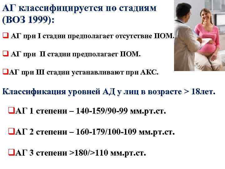АГ классифицируется по стадиям (ВОЗ 1999): q АГ при I стадии предполагает отсутствие ПОМ.
