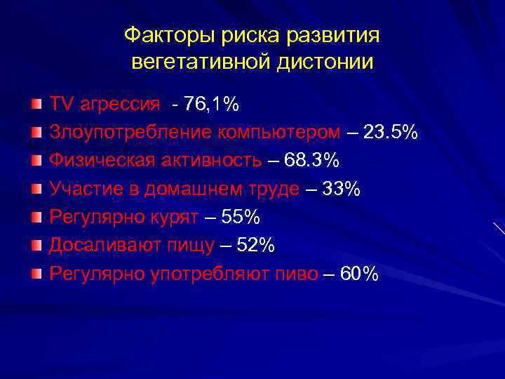 Факторы риска развития вегетативной дистонии TV агрессия - 76, 1% Злоупотребление компьютером – 23.