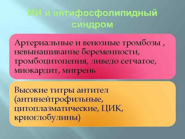 МИ и антифосфолипидный синдром Артериальные и венозные тромбозы , невынашивание беременности, тромбоцитопения, ливедо сетчатое,