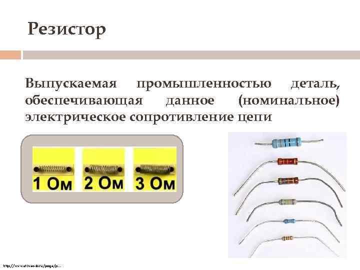 Резистор Выпускаемая промышленностью деталь, обеспечивающая данное (номинальное) электрическое сопротивление цепи http: //www. uroven-sb. ru/page/p…