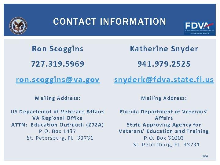 CONTACT INFORMATION Ron Scoggins Katherine Snyder 727. 319. 5969 941. 979. 2525 ron. scoggins@va.