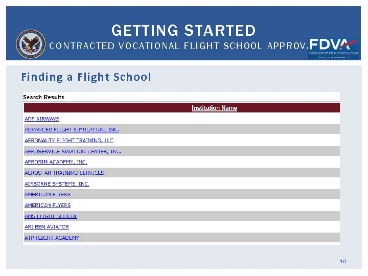 GETTING STARTED CONTRACTED VOCATIONAL FLIGHT SCHOOL APPROVAL Finding a Flight School 16