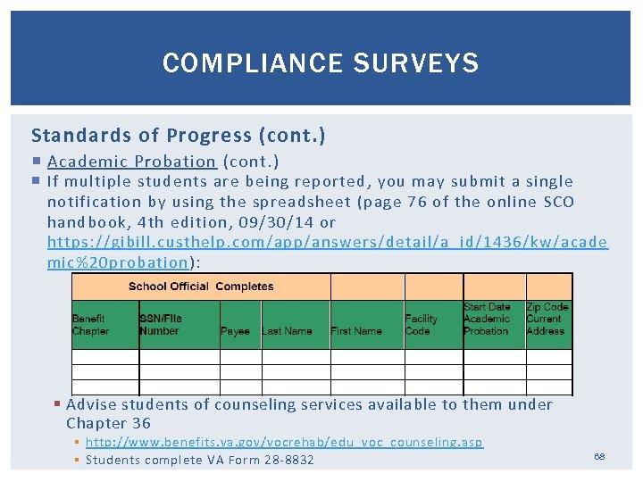 COMPLIANCE SURVEYS Standards of Progress (cont. ) Academic Probation (cont. ) If multiple students