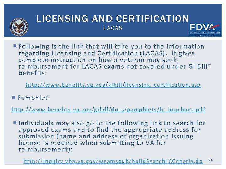 LICENSING AND CERTIFICATION LACAS Following is the link that will take you to the