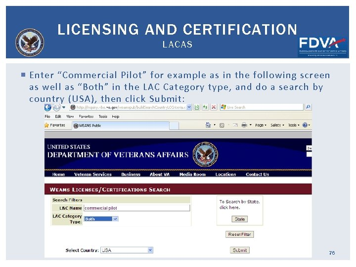 """LICENSING AND CERTIFICATION LACAS Enter """"Commercial Pilot"""" for example as in the following screen"""