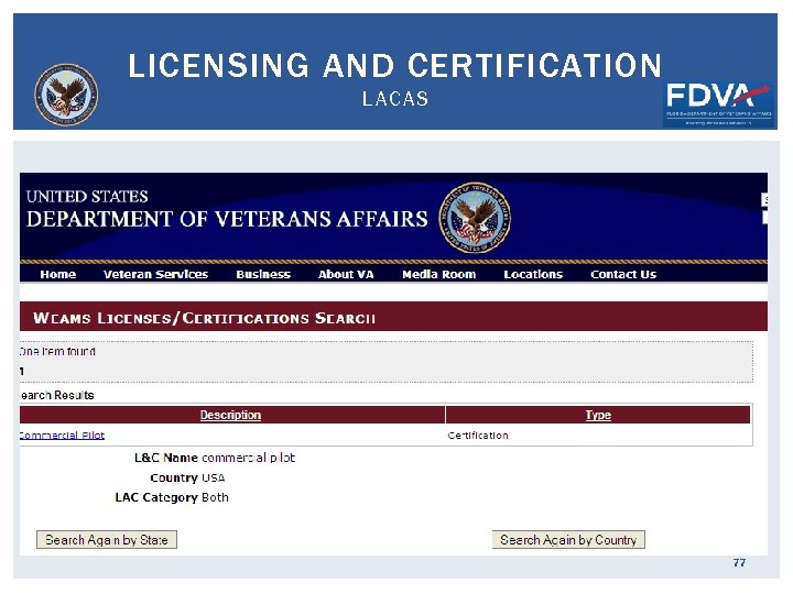 LICENSING AND CERTIFICATION LACAS 77