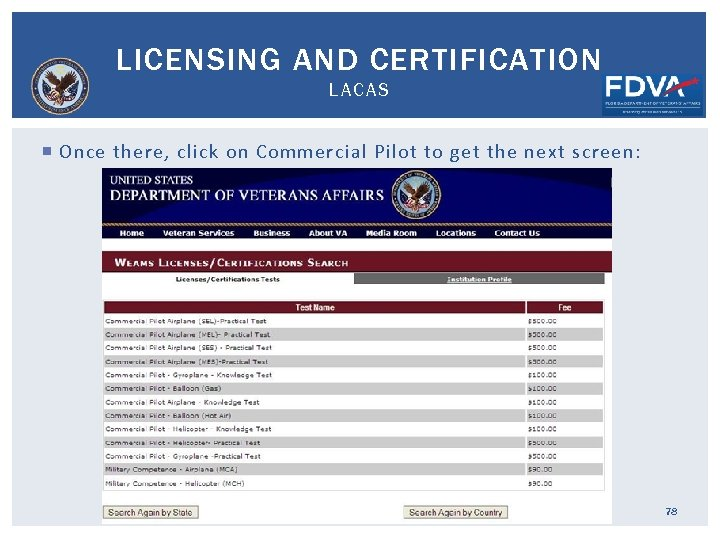 LICENSING AND CERTIFICATION LACAS Once there, click on Commercial Pilot to get the next
