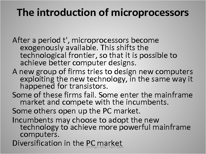 The introduction of microprocessors After a period t', microprocessors become exogenously available. This shifts