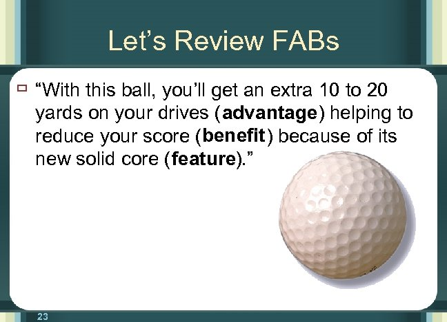 """Let's Review FABs ù """"With this ball, you'll get an extra 10 to 20"""