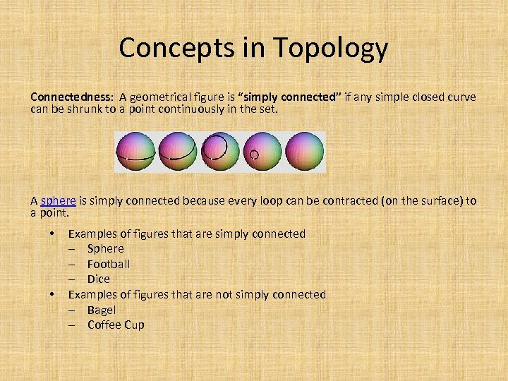 """Concepts in Topology Connectedness: A geometrical figure is """"simply connected"""" if any simple closed"""