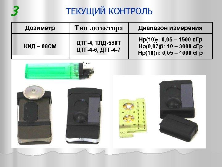 3 ТЕКУЩИЙ КОНТРОЛЬ Дозиметр Тип детектора Диапазон измерения КИД – 08 CМ ДТГ-4, ТЛД-580