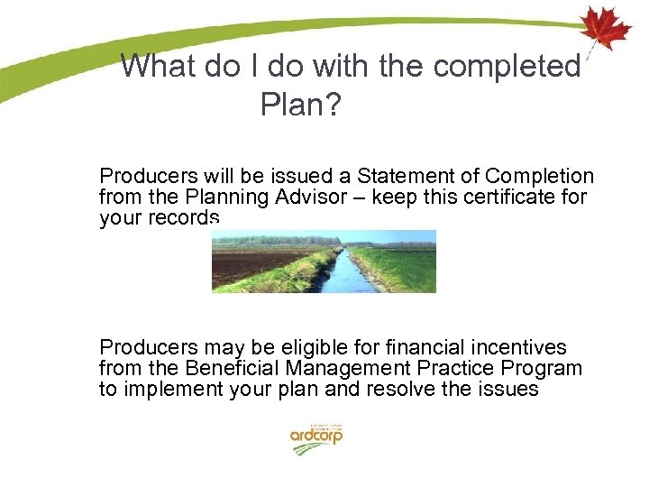 What do I do with the completed Plan? Producers will be issued a Statement