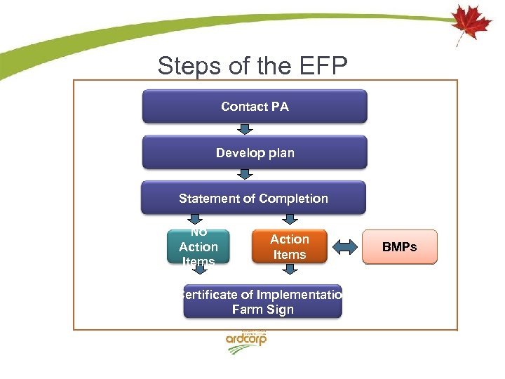 Steps of the EFP Contact PA Develop plan Statement of Completion No Action Items