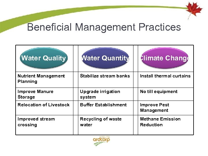 Beneficial Management Practices Water Quality Water Quantity Climate Change Nutrient Management Planning Stabilize stream