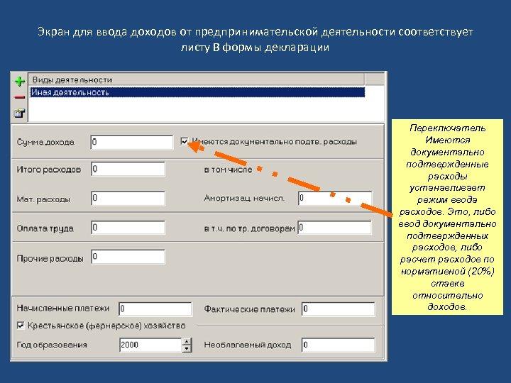 Экран для ввода доходов от предпринимательской деятельности соответствует листу В формы декларации Переключатель Имеются