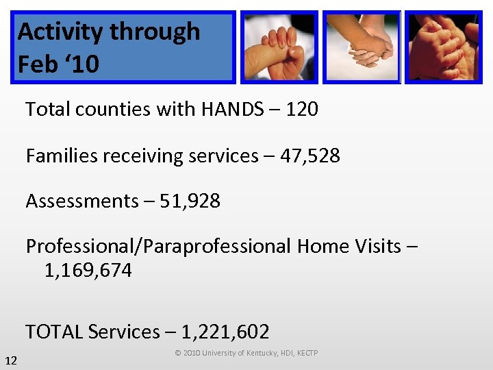 Activity through Feb ' 10 Total counties with HANDS – 120 Families receiving services