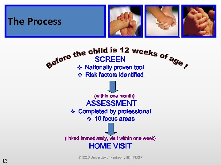 The Process SCREEN v Nationally proven tool v Risk factors identified (within one month)
