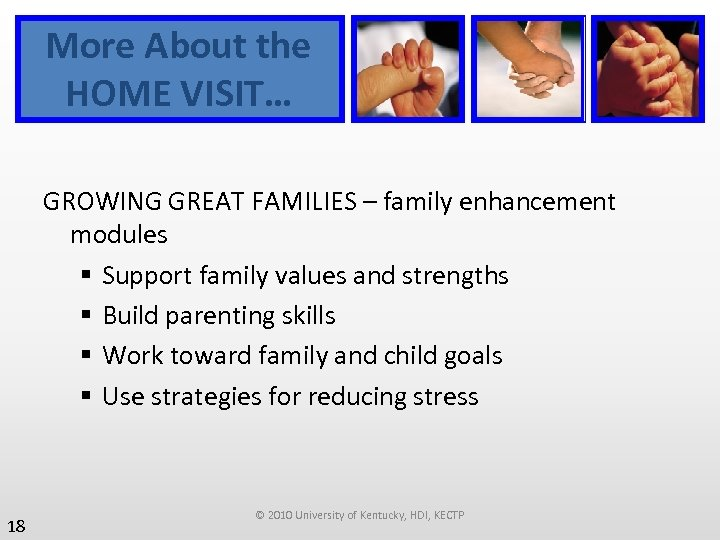 More About the HOME VISIT… GROWING GREAT FAMILIES – family enhancement modules § Support