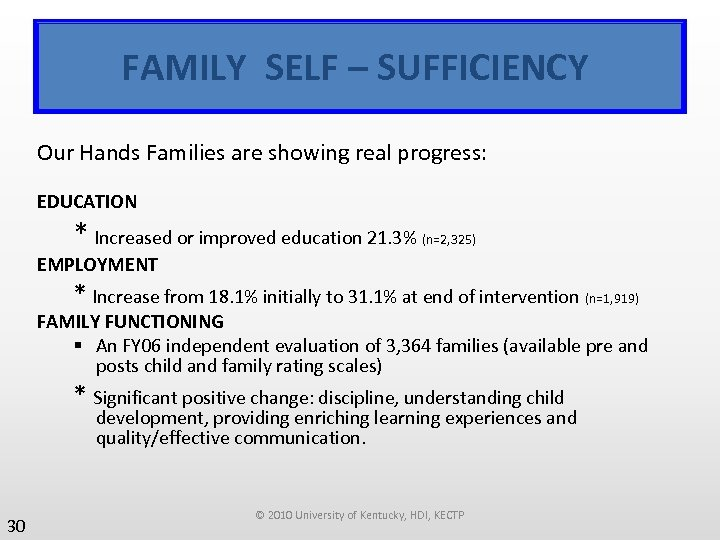 FAMILY SELF – SUFFICIENCY Our Hands Families are showing real progress: EDUCATION * Increased