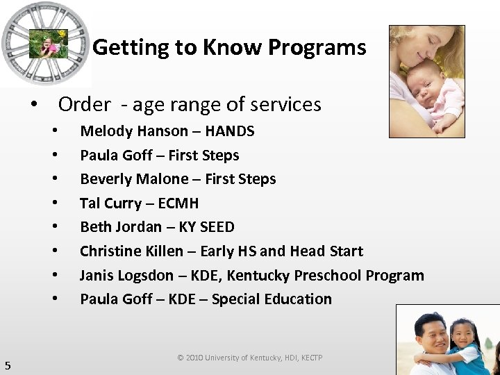 Getting to Know Programs • Order - age range of services • • 5