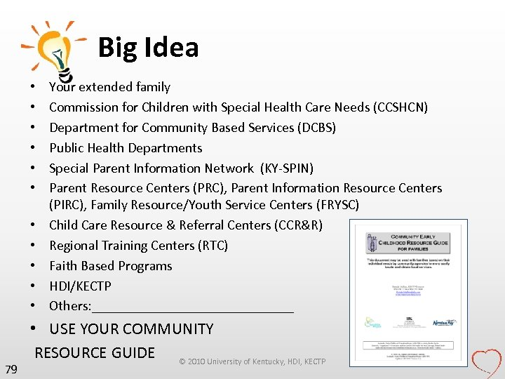Big Idea • • • 79 Your extended family Commission for Children with Special