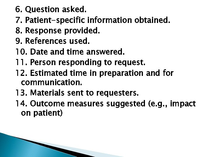 6. Question asked. 7. Patient-specific information obtained. 8. Response provided. 9. References used. 10.