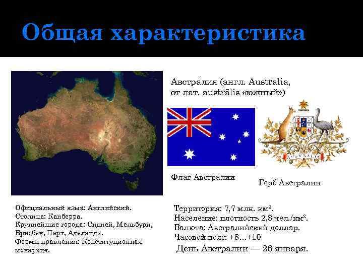 Общая характеристика Австра лия (англ. Australia, от лат. austrālis «южный» ) Флаг Австралии Официальный