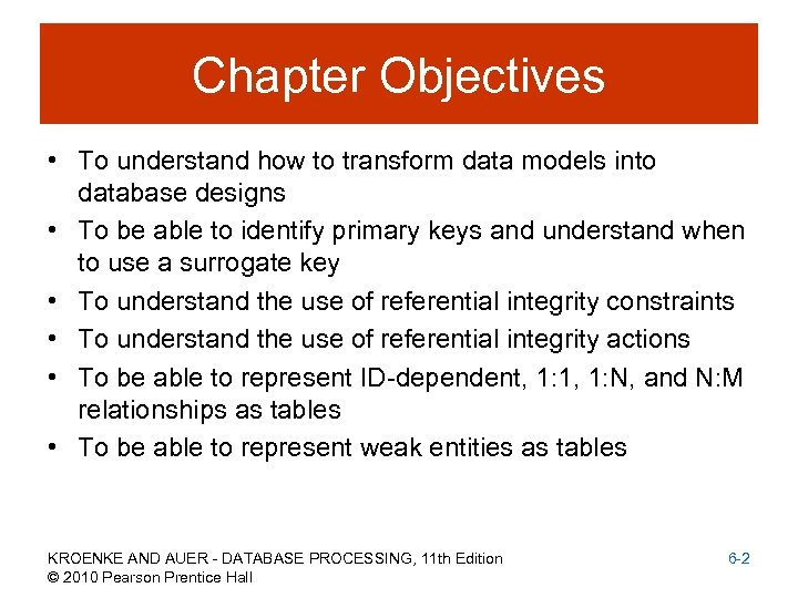 Chapter Objectives • To understand how to transform data models into database designs •