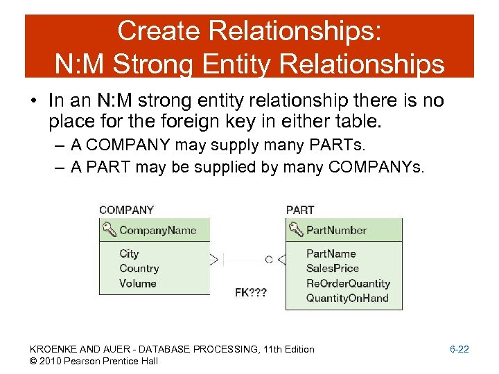 Create Relationships: N: M Strong Entity Relationships • In an N: M strong entity
