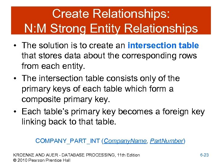 Create Relationships: N: M Strong Entity Relationships • The solution is to create an
