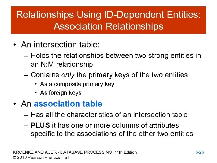 Relationships Using ID-Dependent Entities: Association Relationships • An intersection table: – Holds the relationships