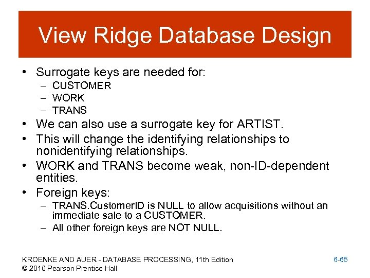 View Ridge Database Design • Surrogate keys are needed for: – CUSTOMER – WORK