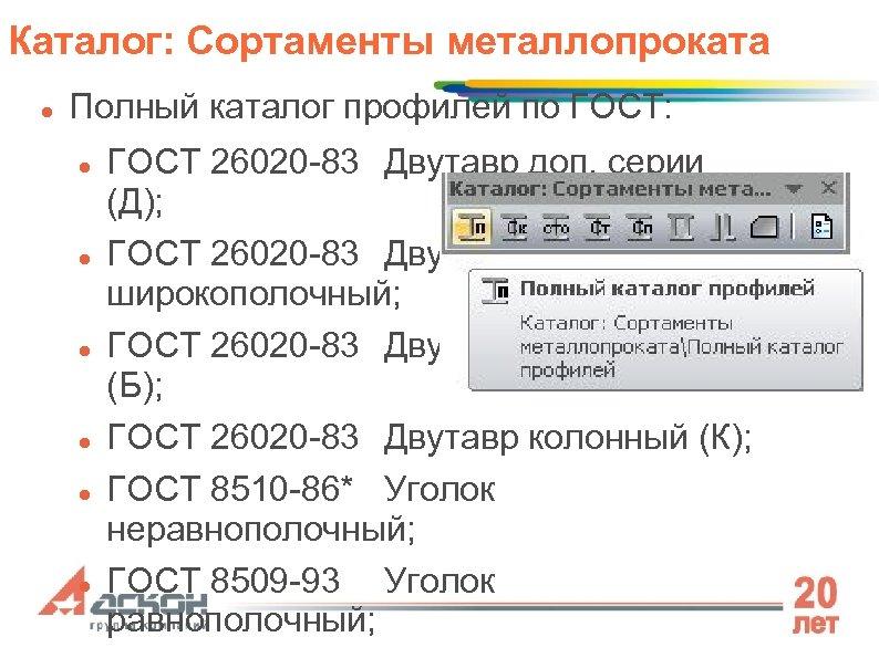 Каталог: Сортаменты металлопроката Полный каталог профилей по ГОСТ: ГОСТ 26020 -83 Двутавр доп. серии
