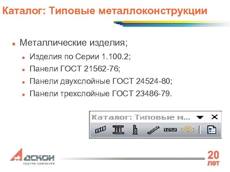 Каталог: Типовые металлоконструкции Металлические изделия; Изделия по Серии 1. 100. 2; Панели ГОСТ 21562