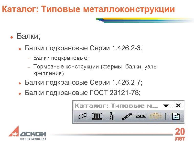 Каталог: Типовые металлоконструкции Балки; Балки подкрановые Серии 1. 426. 2 -3; Балки подкрановые; Тормозные