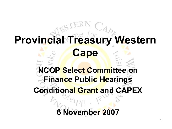 Provincial Treasury Western Cape NCOP Select Committee on Finance Public Hearings Conditional Grant and