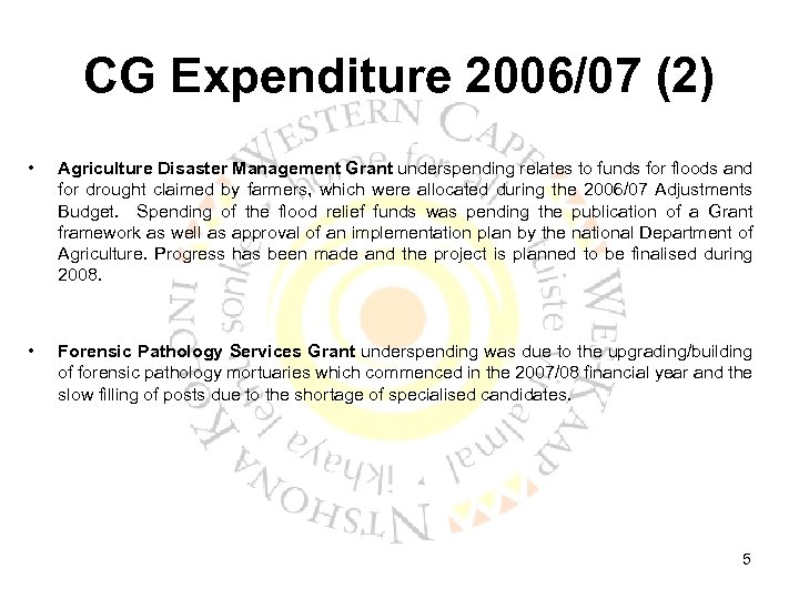 CG Expenditure 2006/07 (2) • Agriculture Disaster Management Grant underspending relates to funds for
