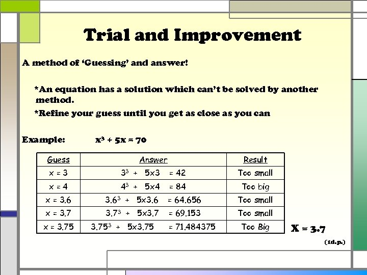 Trial and Improvement A method of 'Guessing' and answer! *An equation has a solution