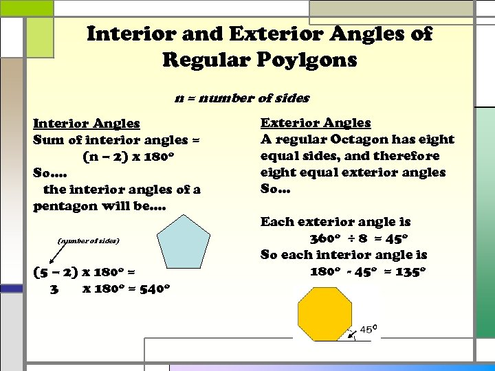 Interior and Exterior Angles of Regular Poylgons n = number of sides Interior Angles