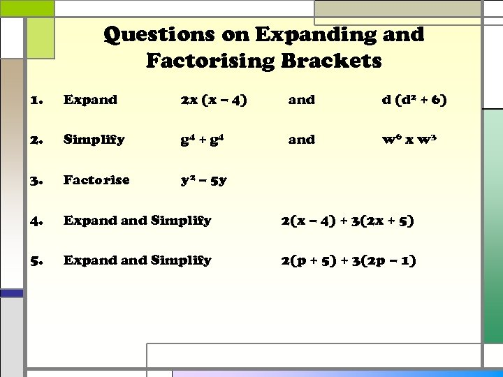 Questions on Expanding and Factorising Brackets 1. Expand 2 x (x – 4) and