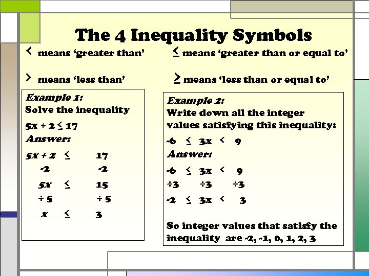 The 4 Inequality Symbols ‹ means 'greater than' ≤ means 'greater than or equal