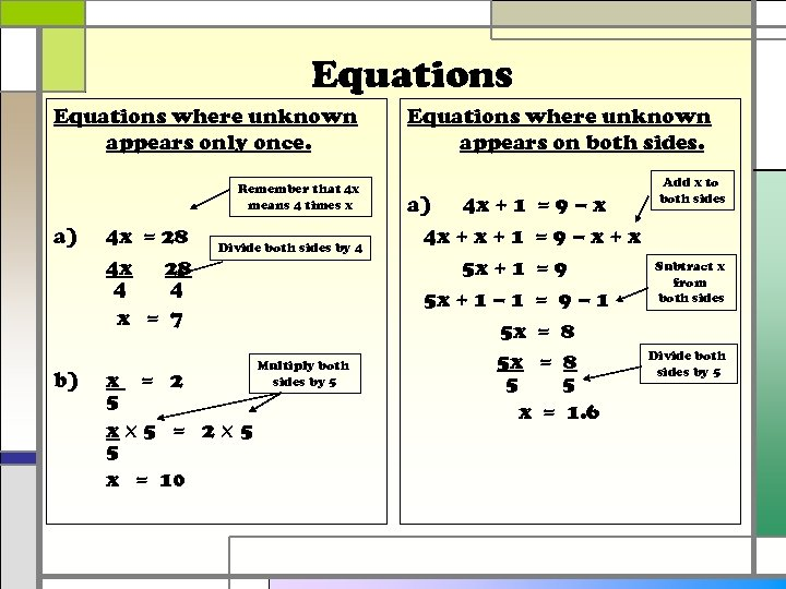 Equations where unknown appears only once. Remember that 4 x means 4 times x