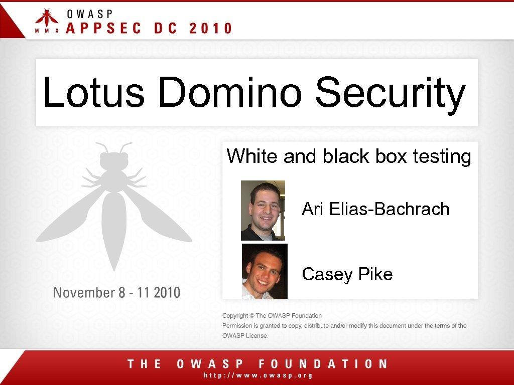 Lotus Domino Security White and black box testing Ari Elias-Bachrach Casey Pike