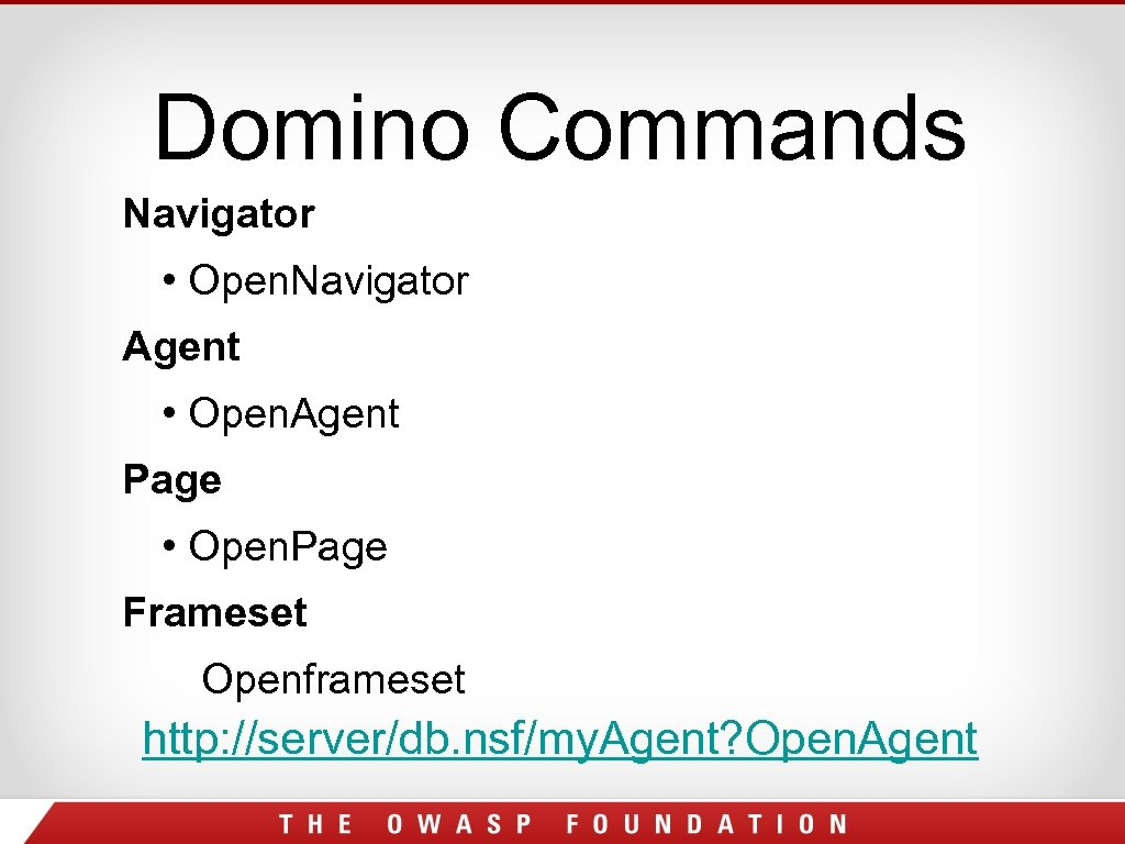 Domino Commands Navigator • Open. Navigator Agent • Open. Agent Page • Open. Page