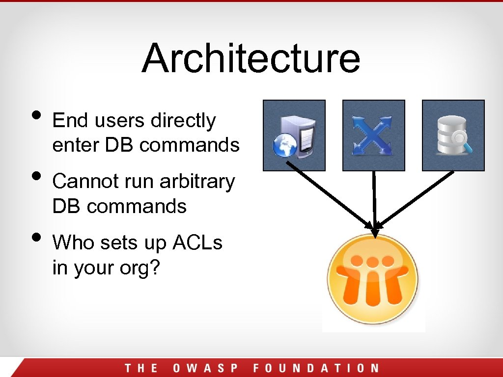 Architecture • End users directly enter DB commands • Cannot run arbitrary DB commands