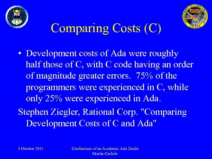 Comparing Costs (C) • Development costs of Ada were roughly half those of C,