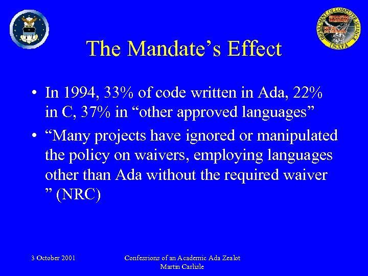 The Mandate's Effect • In 1994, 33% of code written in Ada, 22% in