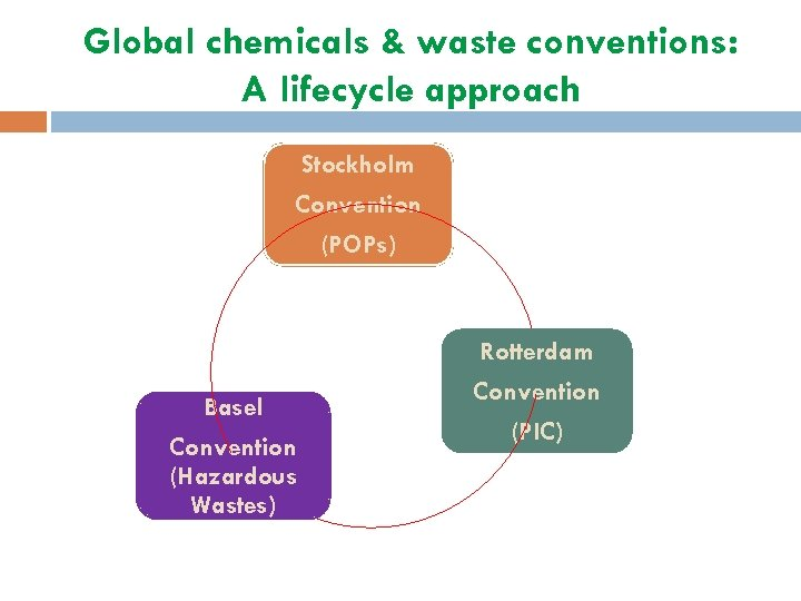 Global chemicals & waste conventions: A lifecycle approach Stockholm Convention (POPs) Rotterdam Basel Convention