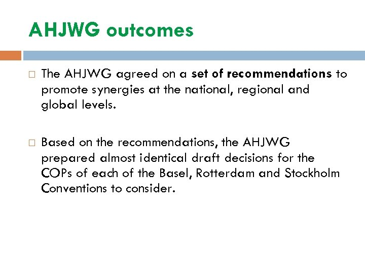 AHJWG outcomes The AHJWG agreed on a set of recommendations to promote synergies at