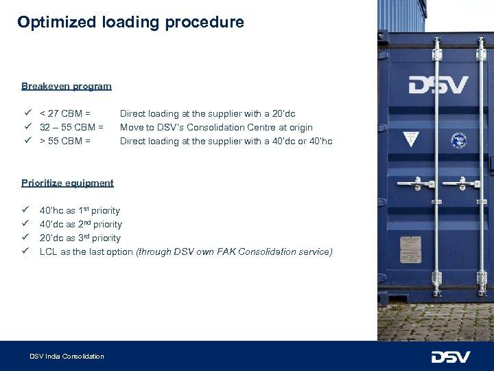 Optimized loading procedure Breakeven program ü < 27 CBM = ü 32 – 55